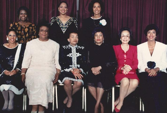 Constance Baker Motley, the first African American woman to serve as a federal judge, poses with a  group of colleagues.