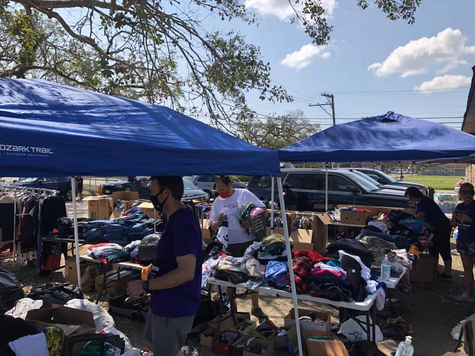 With help from probation staff in the Eastern District of Texas and the Eastern District of Louisiana, a makeshift clothing and household goods giveaway was organized for Western District of Louisiana probation staff and the individuals they supervise.