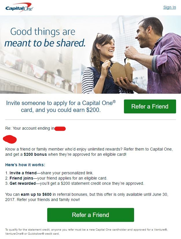 Capital One Referral Links Now Available (Targeted?) - US Credit