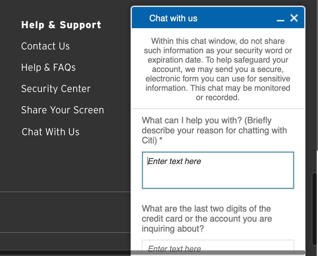 Citi 終止了 Secure Message 功能 - 美國信用卡指南