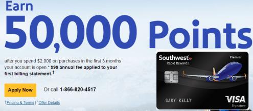 【最高50k开卡奖】Chase Southwest Premier 信用卡——一起申,一起飞