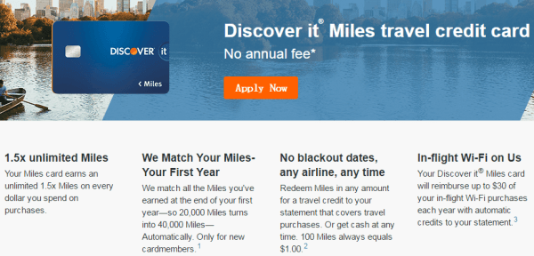 Introduction to Discover IT Miles credit cards-the first year 3x+ year 30wifi