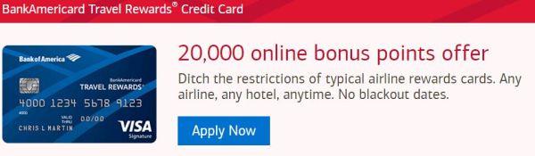 """History 20K Card awards"" BOA introduced Travel Rewards credit cards"