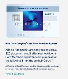AMEX Blue Cash Everyday(BCE)信用卡【12/1更新:加副卡送】