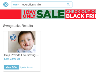 Swagbucks+Operation Smile捐款=倒赚