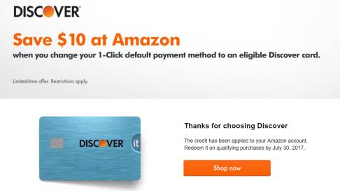 Amazon 1-click免费送【9/3更新:Discover又来送,老套路】