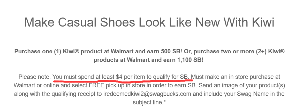 Swagbucks + Walmart = 倒赚 + 免费 kiwi 产品(鞋带/创口贴 等等)【4/4更新:term变化,需要每件至少png】
