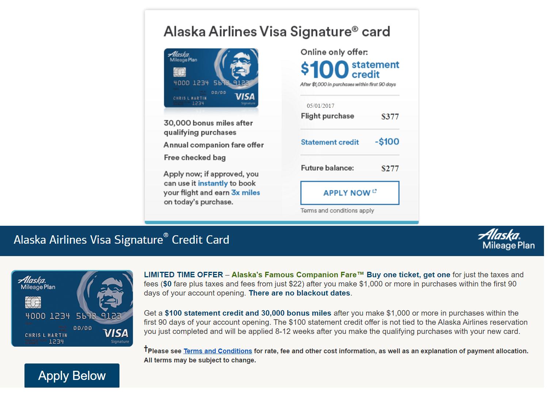 BOA Alaska Airline 信用卡【5/1更新:30k+0+同行票免方法】