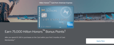 AMEX Hilton HHonors Credit card open card to send 75k points, no annual fee]
