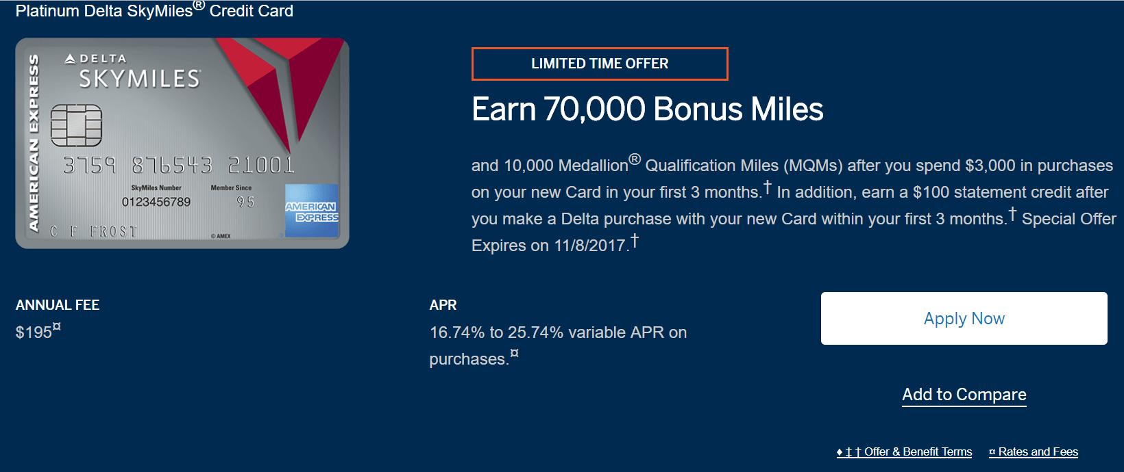 AMEX Platinum Delta 信用卡【9/28更新:70k+0+10k奖励来啦】