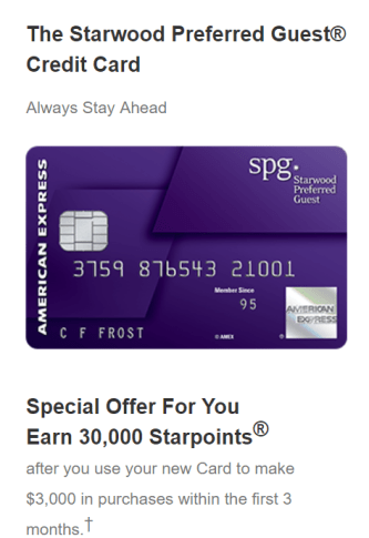 AMEX Starwood Preferred Guest 信用卡【2/13更新:隐身模式30k 开卡奖励链接】