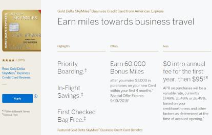 AMEX Gold Delta SkyMile Business 商业信用卡【60k开卡奖励】