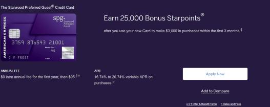 AMEX Starwood Preferred Guest 信用卡【4/19更新:开卡奖励变为0,搭上末班车了吗?】