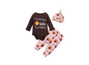 Baby Girl Pumpkin Gobble Turkey Pant Set
