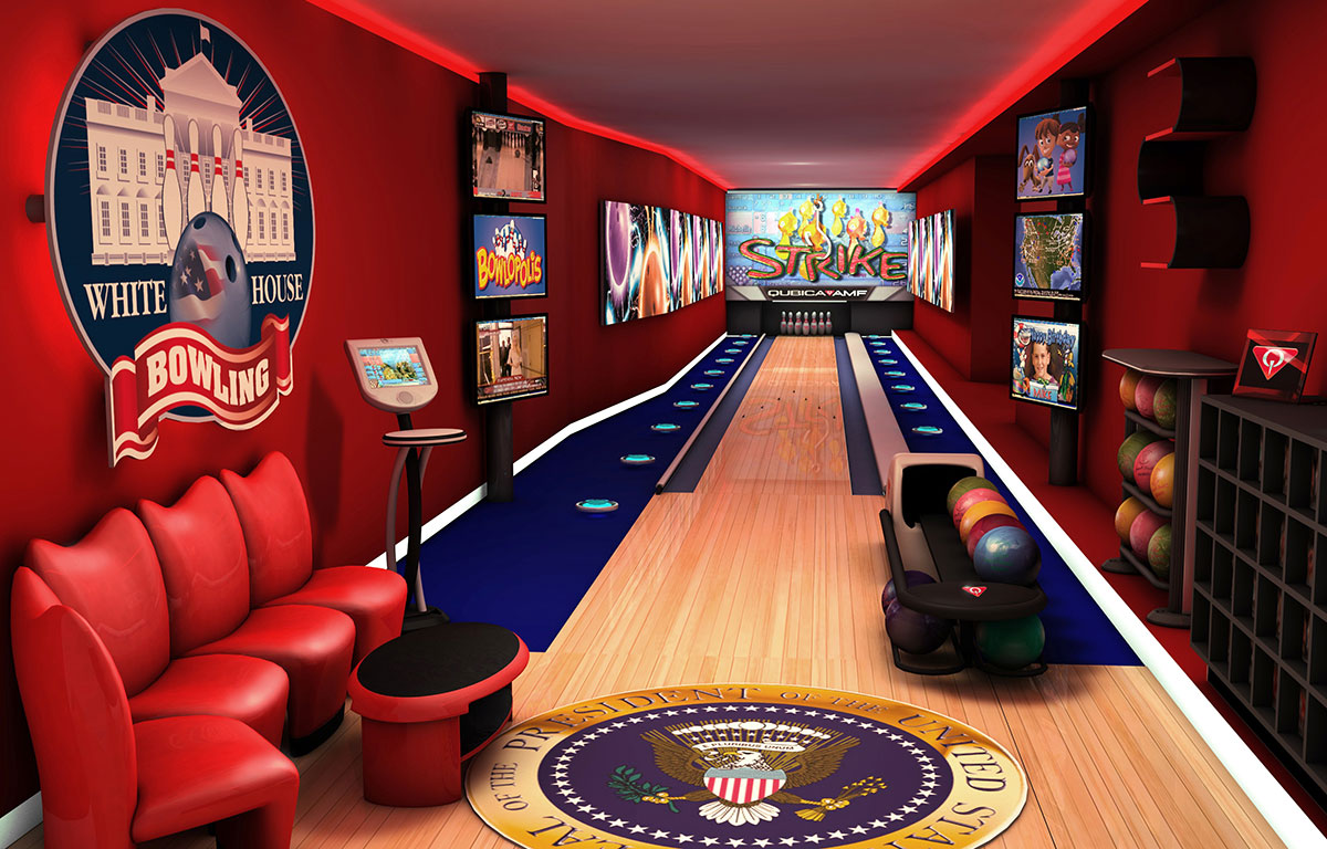 Inside White House Bowling Alley