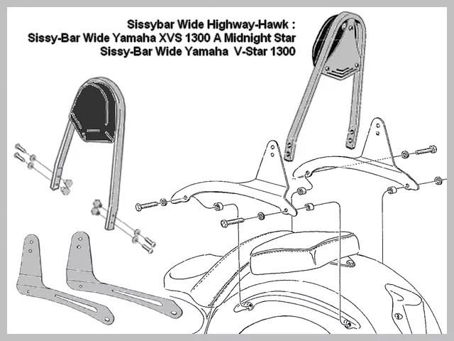 Sissy-Bar Wide Yamaha XVS 1300 A Midnight Star Highway