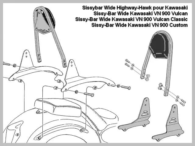 Sissybar Highway-Hawk Dosseret Biker et Passager Dossier
