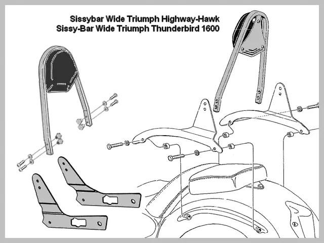 Sissy-Bar Wide Triumph Thunderbird 1600 A Highway-Hawk
