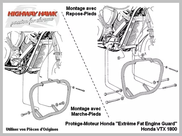 Pare-Cylindre Crash-Bar Highway-Hawk Pare-Jambe Protection