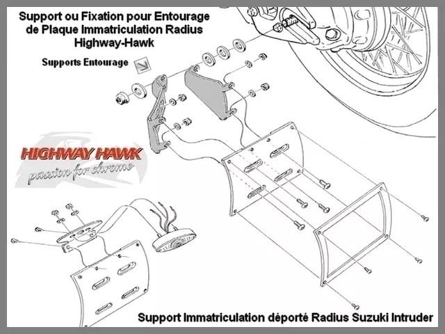 Support Suzuki Radius pour Plaque Immatriculation Radius