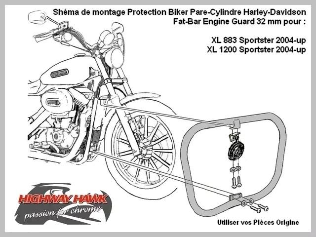 Pare-Cylindre Fat-Bar Harley-Davidson Sportster XL 883 et