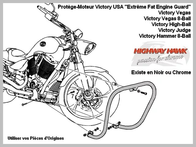 Pare-Cylindre Fat-Bar Extrême Moto Custom Victory USA