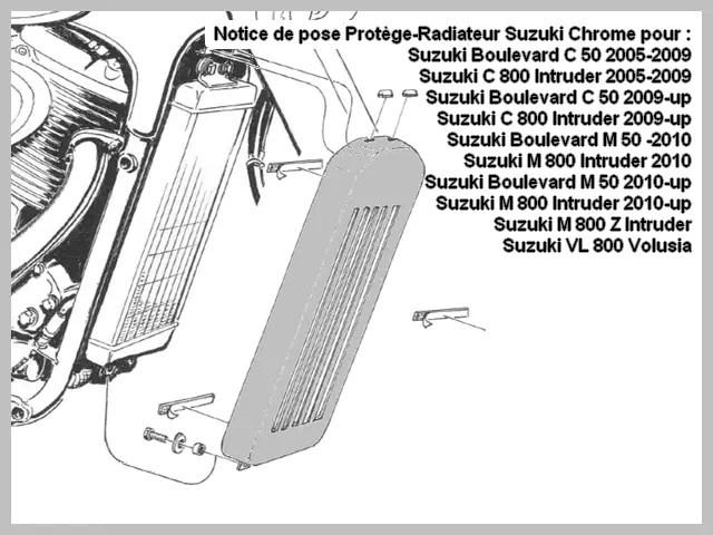 Cache Radiateur Moto Custom Suzuki USA Europe Export