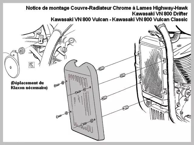 Cache Radiateur Kawasaki VN 800 Classic et Drifter Chrome