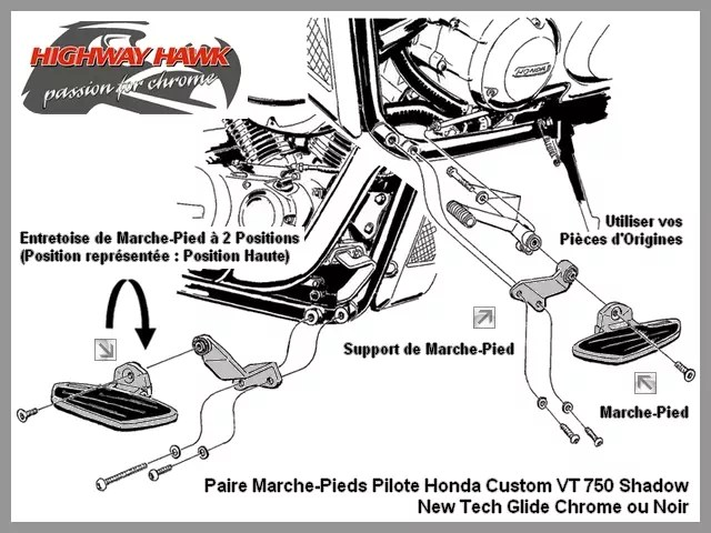Paire Marche-Pieds Pilote Honda Custom VT 750 Shadow 2004