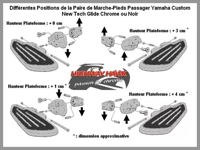 Paire Marche-Pieds Passager Yamaha Custom XVS 950 1300 A