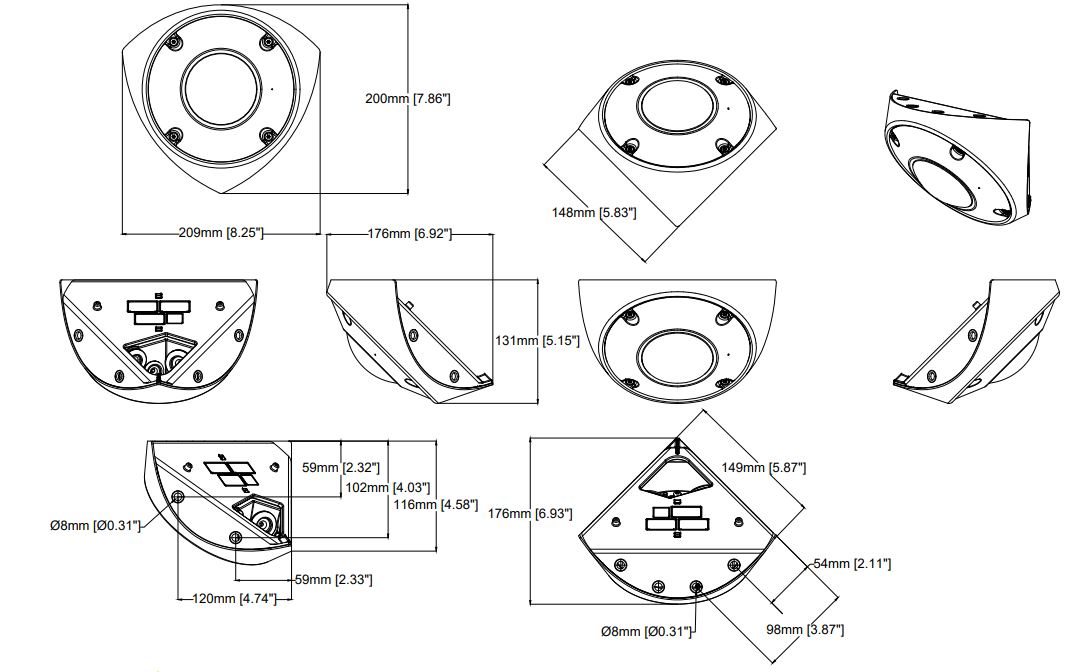 Axis Q9216-SLV Anti-Ligature Corner Mount Network Camera