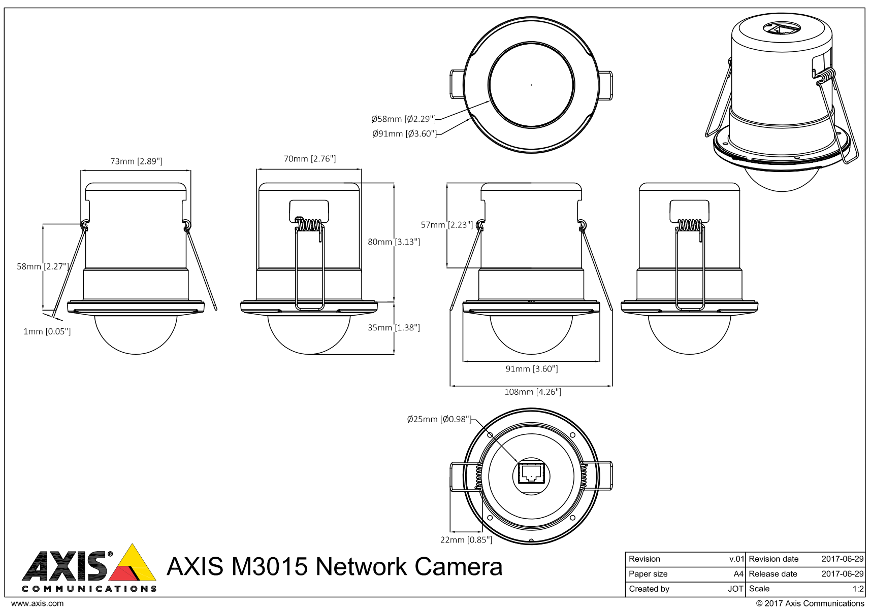 Axis M3015 Recessed Mount Mini Dome 01151-001