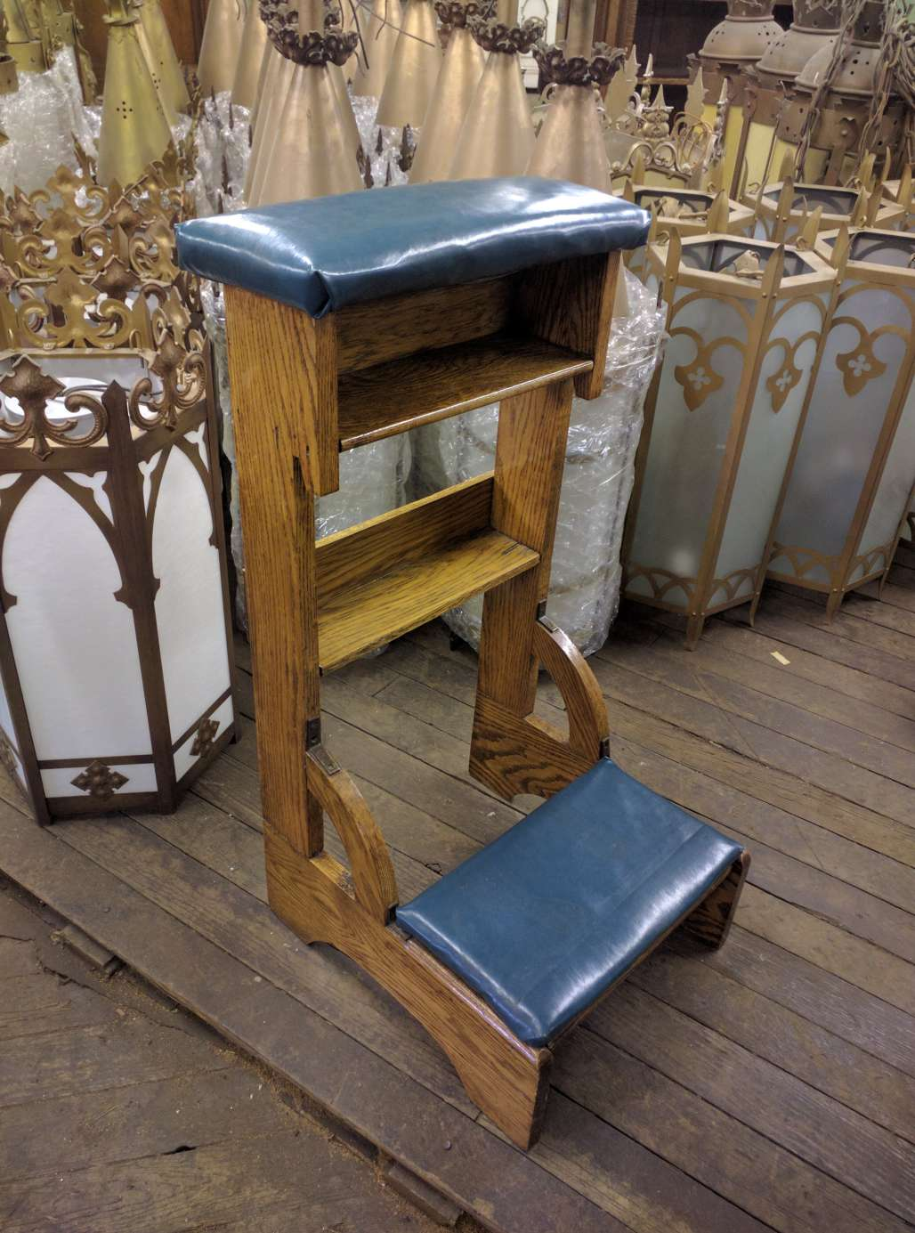 church chair with kneeler kids character chairs prie dieu kneelers used items