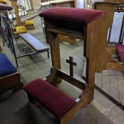 Church Chair With Kneeler Rocking And Stool Prie Dieu Kneelers Used Items