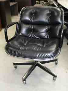 Knoll Pollock Vintage Black Leather 5 Star Chrome Conference Chair