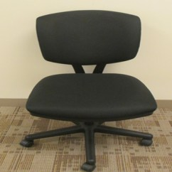 Task Chair Without Arms What A Chairman Does Used Office Furniture Black Fabric By Hon