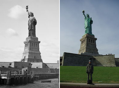 The Statue of liberty early 1900s and now