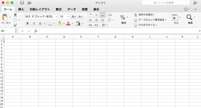 Excel for Macの画面