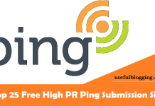 Free High PR Ping Submission Sites