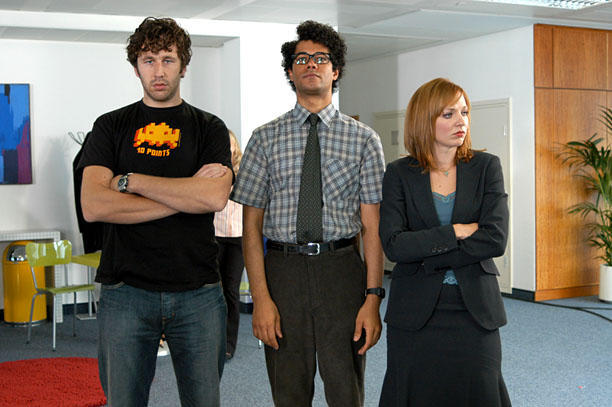IT Crowd Roy (Chris O'Dowd), Moss (Richard Ayoade) and Jen (Katherine Parkinson) on The IT Crowd. Photo Credit: Courtesy IFC