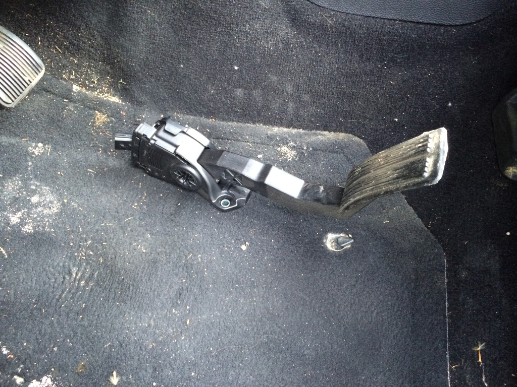 hight resolution of the fun part is removing the cover off the throttle pedal assembly it s snapped into place with a million plastic latches be careful