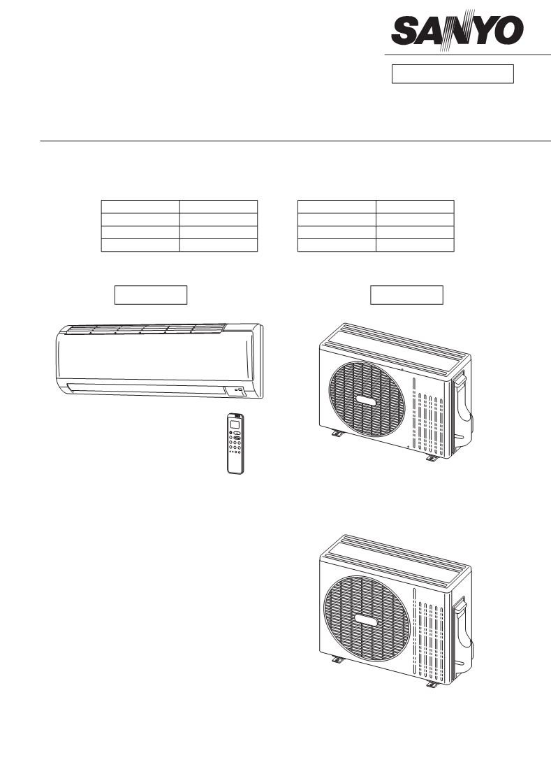Manual de uso de Sanyo Air Conditioner Sanyo Split System