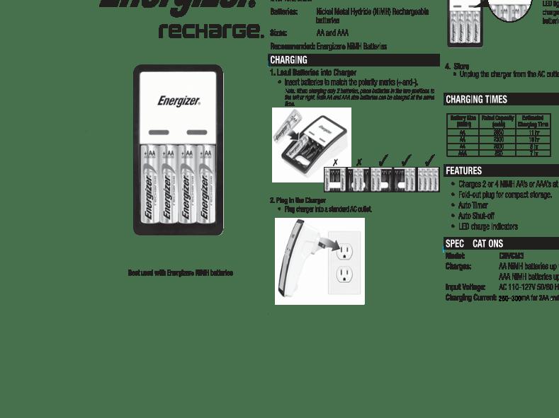Anwendungsvorschrift Energizer Battery Charger CHVCM3