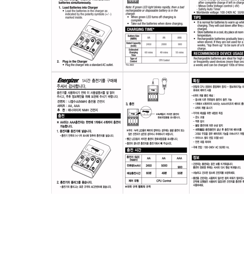 Manual de uso de Energizer Battery Charger CH1HR-2