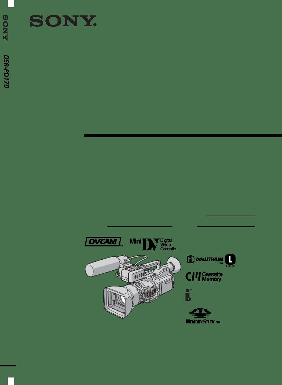 取扱説明書Sony Camcorder DSR-PD170 ー Sony Camcorder DSR-PD170に