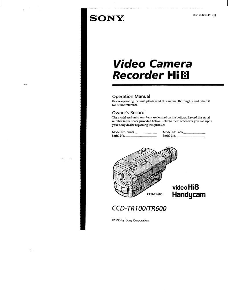 Gebruiksaanwijzing Sony Camcorder CCD-TR100/TR600