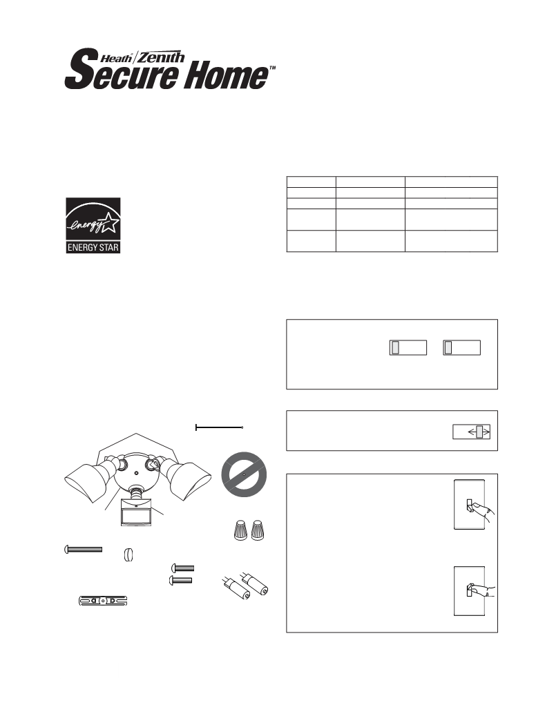 User manual for Heath Zenith DualBrite Motion Sensor Light