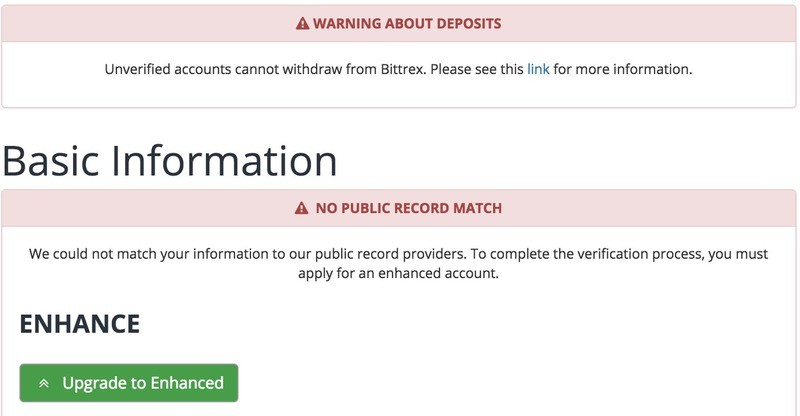 Bittrex Account Enhanced Verification
