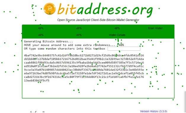 On this screen, the website will generate your bitcoin address.