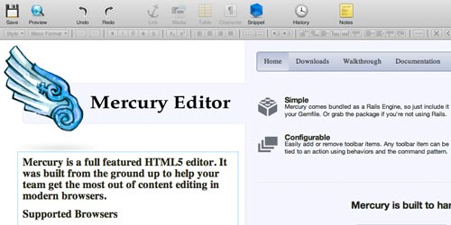 Mercury jQuery Wysiwyg text editor plugin